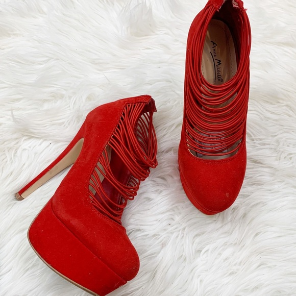 anna michlle Shoes - Anna Michelle Red suede strappy pump